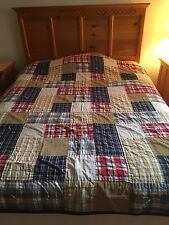 COZY COTTAGE CABIN BLUE RED WHITE HAND QUILTED SHAMS AND BEDSKIRT DOUBLE QUILT!!