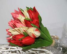 TULIPS POSY ARTIFICIAL SILK FLOWER SPRING BOUQUET BUNCH 15 MIXED RED PINK CREAM