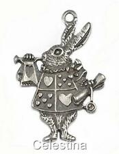 10 Antique Silver Alice In Wonderland Rabbit Charms - Herald Bunny LF NF CF
