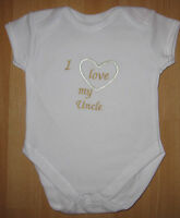 I Love My Uncle Baby Vest Grow Babies Clothes Funny Gift Boy Girl Blue Pink
