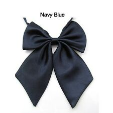 Navy Blue Womens Girls Party Banquet Solid Color Adjustable Bow Tie Necktie