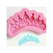 Pearl Jewel Crown Tiara Princess Cake Topper Fondant Sugarcraft Silicone Mould