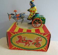 Vintage 1960's USSR HORSE Cart Clown Wind Up Tin Toy  Russian lehmann knock off