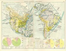 1928 MAP ~ AMERICA COMMERCIAL DEVELOPMENT AREA & POPULATION NORTH & SOUTH
