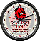 USMC US Marine Corp Devil Dog Gym Weakness Is Pain Leaving Body Sign Wall Clock