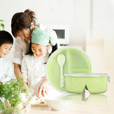 Lovely Solid Color Round Fresh Lunch Box Food Container Storage With Spoon JL