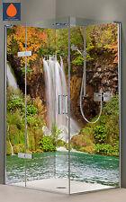 Eck Rückwand Dusche Alu-Dibond Duschrückwand Fliesenspiegel Fliesen, Wasserfall