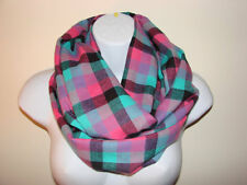 sale purple pink teal plaid infinity scarf flannel man woman fall winter scarf