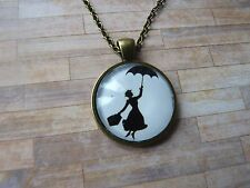 Vintage Look Mary Poppins Silhouette Pendant Glass Necklace New in Gift Bag