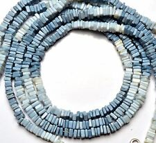 NATURAL GEMSTONE PERUVIAN BLUE OPAL 4.5MM SQUARE HEISHI BEADS NECKLACE 16""
