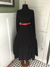 VTG 50s 80s RETRO Black Knit Full Skirt LUCY PINUP Party Shirt FALL Day Dress