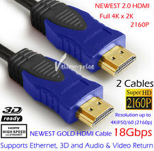 2x HDMI Cable v2.0 Full HD 3D 1080p 2160p 4K Video Ethernet ARC Highend Lead 3FT