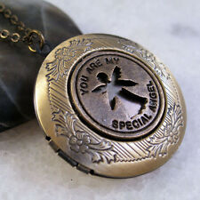 You Are My Special Angel Round Vintage Brass Picture Locket Pendant Necklace