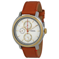 Fossil Chelsey Silver Dial Tan Leather Ladies Watch ES3523