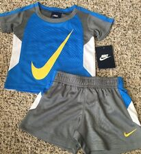 NIKE NEW Baby Boy's 12M Outfit T Shirt Shorts Blue Large Yellow Swoosh
