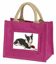 Bull Terrier Dog with Red Rose Little Girls Small Pink Shopping Bag, AD-BUT2RBMP