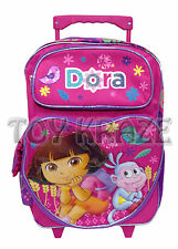 "DORA THE EXPLORER ROLLING BACKPACK! PINK HEART WHEAT BOOTS ROLLER BAG 16"" NWT"
