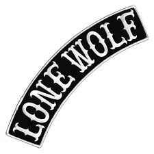 VEGASBEE® LONE WOLF BLACK-WHITE EMBROIDERED IRON-ON PATCH JACKET TOP ROCKER 12""