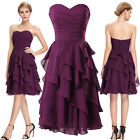 Short Chiffon Ball Cocktail Evening Graduation Prom Party Tiered Dress Plus Size
