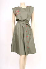 ORIGINAL VINTAGE 1980's 80's KHAKI GREEN POPPER BUTTONS BELTED DRESS! UK 14