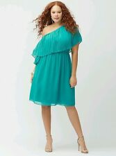 LANE BRYANT PLUS SIZE TEAL CHIFFON LINED PLEATED ONE SHOULDER DRESS Sz 18/20