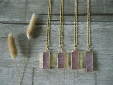Rose Quartz Bar Gemstone Pink Quartz Gem Golden Pendant Statement Necklace