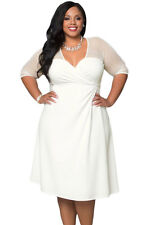 Plus Size Clothing 3X Knee Length White V-Neck Tea Dress SEXY Sheer Mesh Sleeves