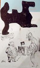 ANCIEN CLICHÉ D'IMPRIMERIE ( TAMPON ) CARICATURE SATIRIQUE  BANQUIER
