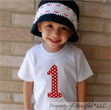 BonEful RTS NEW Boutique Baby White Red Dot T-Shirt Top Girl Boy 18M #1 Birthday