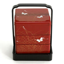 3 Tier Butterfly Mini Japanese JUBAKO Lacquer Bento Box w/Handle/Made Japan
