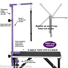 Adjustable PRO Pet Dog Cat GROOMER Foldable Grooming TABLE ARM,CLAMP&LOOP*PURPLE