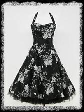 dress190 Übergröße Schwarz Weiß 50er Retro Ballkleid Rockabilly Vintage Kleid 48