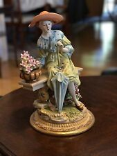 Vintage German Dresden Porcelain Large Figure Statue Woman On Bench - Beautiful!
