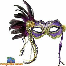 PURPLE MASQUERADE METALLIC MASK FEATHER - mens womens fancy dress accessory