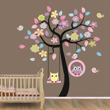 Large Owl Swing Flower Tree Wall decal Removable stickers decor art kids nursery