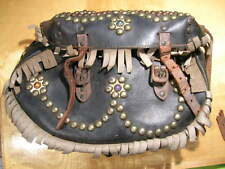 Vintage Jeweled Leather Motorcycle Side Saddle Bags buco indian warrior scout