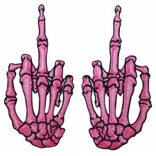 Pink Skeleton Hands Middle Finger Kreepsville Embroidered Iron On Applique Patch