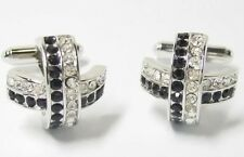 Black & white Crystal Cross Cufflinks Cuff Links NEW in Gift Box -  11784