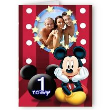 Personalised Photo & Any Age Disney Mickey Mouse, A5 Birthday Card