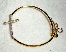 Silver Cross Bangle: 1/10 CT. T.W. Diamond 14K Yellow Gold Over Sterling Silver