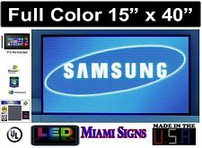 """LED Sign Full Color Programmable Videos Logos and Images Size 15"""" x 40"""" LED 5MM"""
