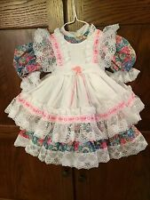 Antique Reproduction Doll Dress Of Calico With Lace Trimmed Pinafore/Petticoat