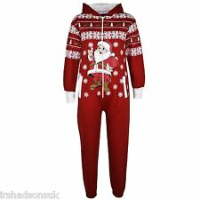 Kids Girls Boys Christmas Onesie Santa Penguin Snowman Print Jumpsuit 5-13 Years