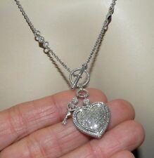 "Heart & Key Real Diamond Necklace Solid Sterling Silver 18"" Toggle Clasp Design"