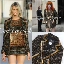 Chanel black gold tweed ruban fantaisie longue veste blazer manteau taille FR38 US6