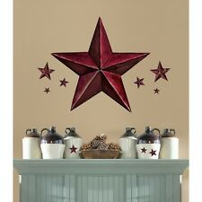 New Giant BURGUNDY BARN STAR WALL DECALS Country Kitchen Stars Stickers Decor