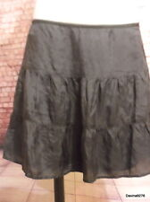 Pure silk tiered mini skirt black 12