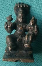SMALL VINTAGE HAND CARVED COPPER STATUE OF HINDU RELIGIOUS GOD VISHNU WITH LAXMI