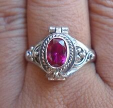 925 Sterling Silver-Balinese Poison Locket Ring With Ruby Cut Size 7-PR02