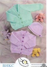 BABY  KNITTING  PATTERN  baby cardigans and hat prem 12 in to  4 yrs dk